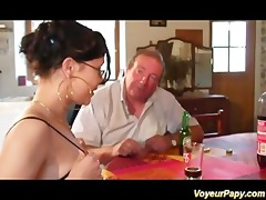 erotic brunette hair engulfing papy and his ally