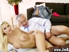 old chap gives spunk fountain to sexy blond