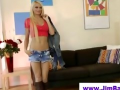 old chap spoiling a blondes youthful pussy