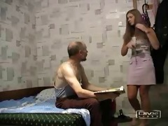 old man fucks hotty in pink petticoat