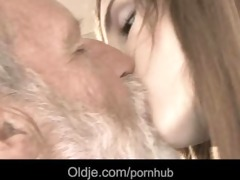 bearded grandad cum in tina's juvenile mouth