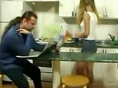 petite daughter tempt old guy in kitchen