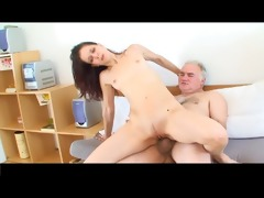 miniature tittted beauty acquires fucked by older