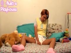sexy angel masturbates in diaper and yellow onesie