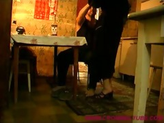 daddy does daughter on the kitchen table -
