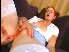 young redhead gal drilled by aged guy