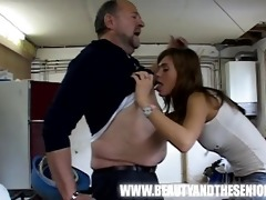 overweight guy is pounding a youthful sexy cutie