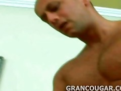 grancougar engulfs youthful meat with her old gap
