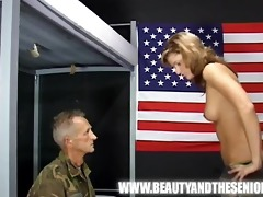 old soldier getting punished by a juvenile beauty
