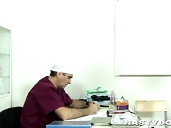 old doc does a thorough cum-hole exam