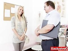 old doctor checks youthful blond gal venus twat
