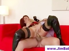 redhead in leather boots drilled by old chap