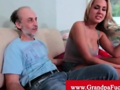 grand-dad getting a tit slap from a golden-haired