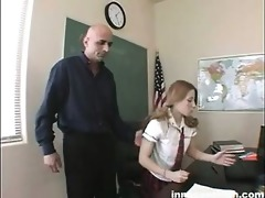 blond coed rubs her cunt to her teachers shlong