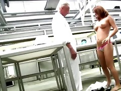 juvenile booty redhead receives naked in front of