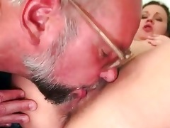 grandpapa and hairy youthful beauty pissing and