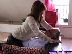 youthful playgirl engulfing old mans rod