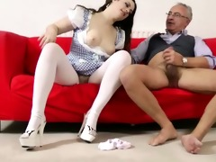 beautiful brunette hair drilled by old dude